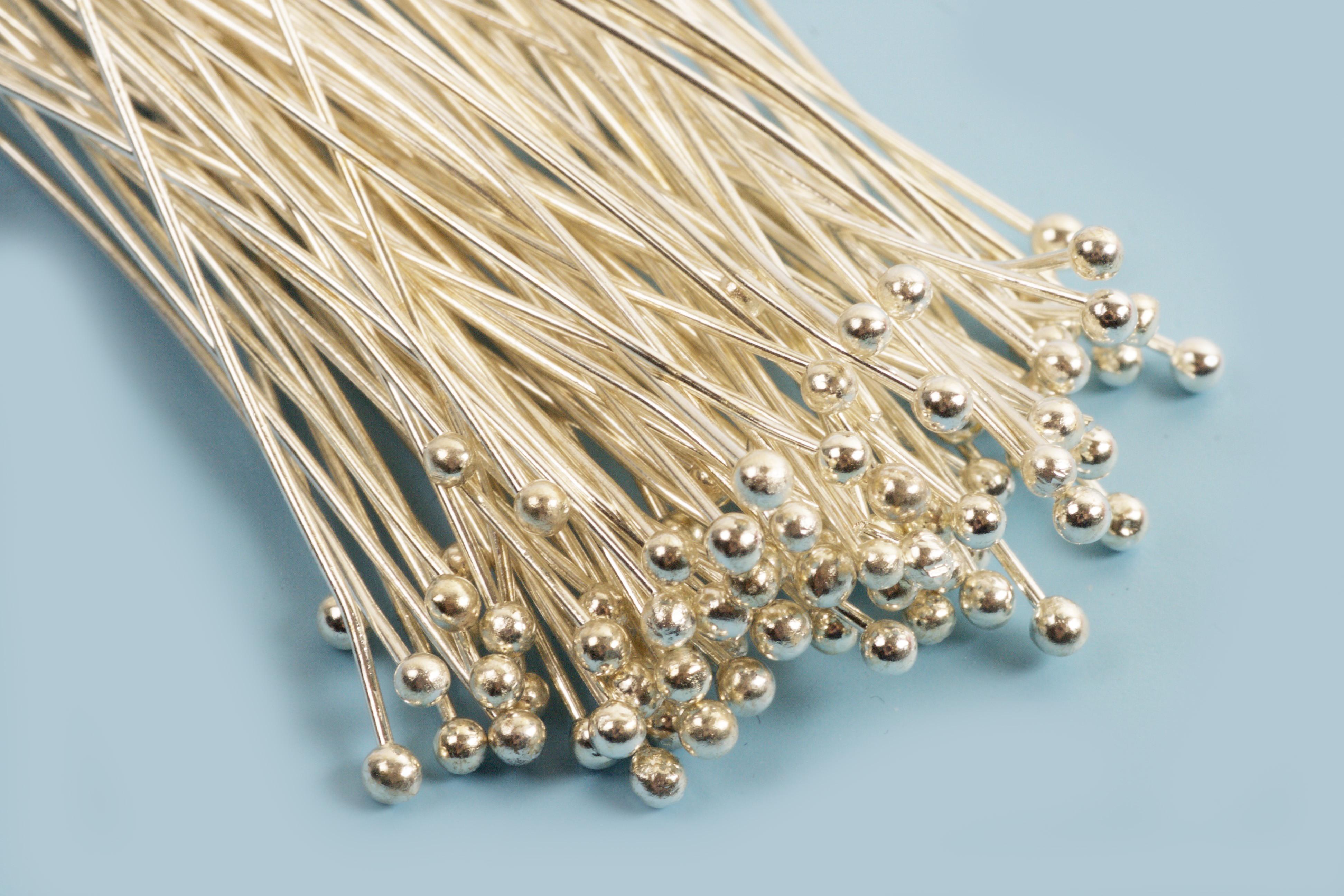 Perlestave m/1 perle, 50x0,6 mm, FS, 100 stk.