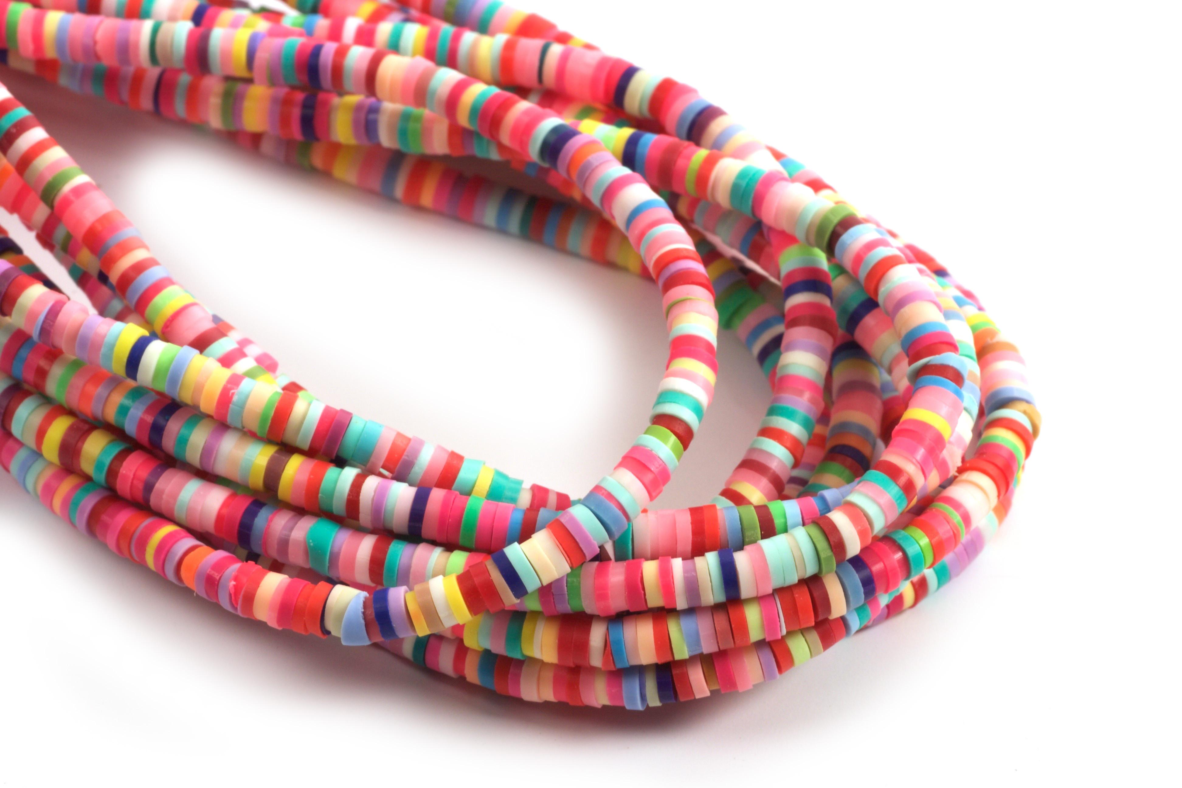 Polymer / fimo perler, 3,5x1 mm, lyst farvemix, 1 streng