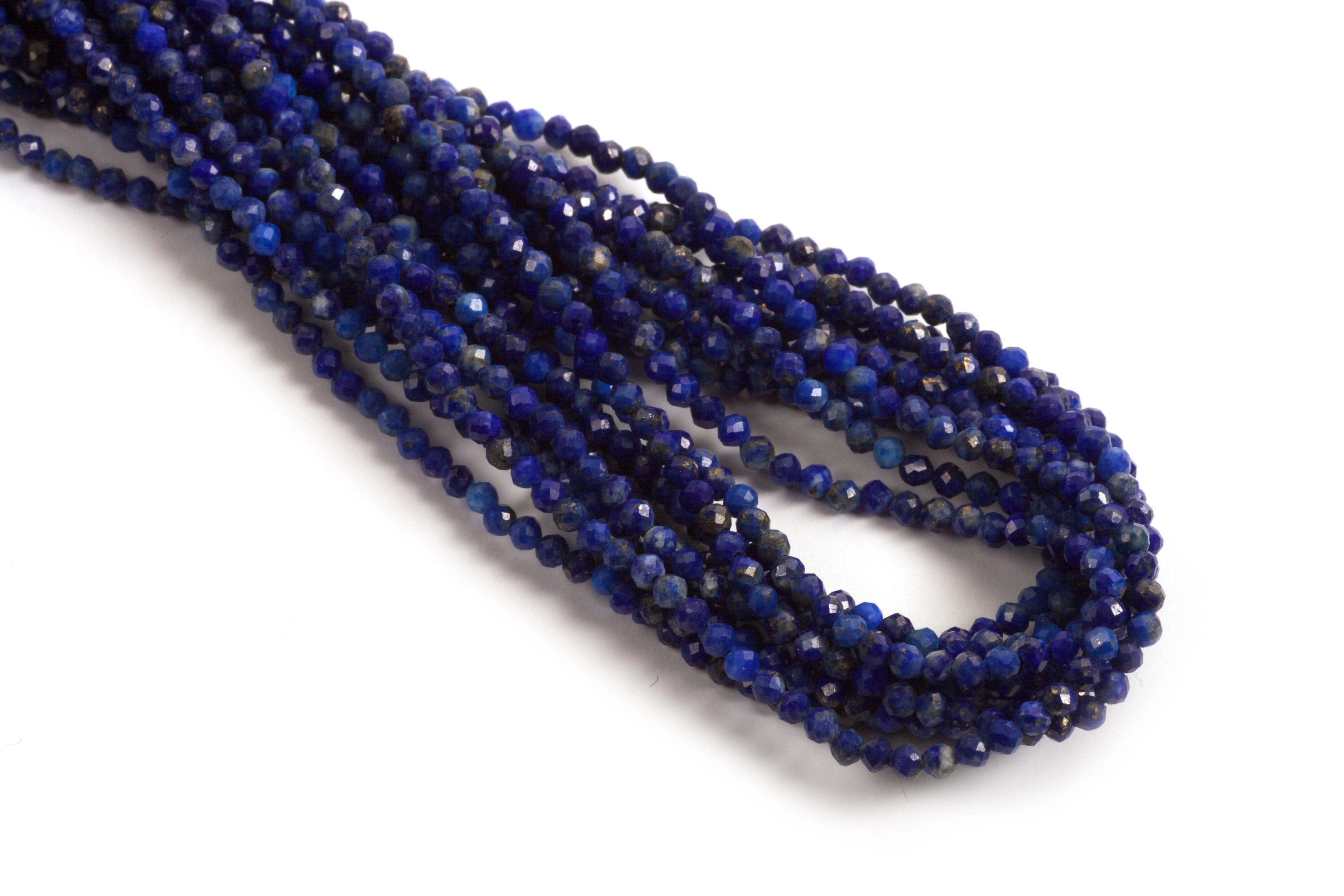 Lapis Lazulis, facet, 2 mm, 1 streng