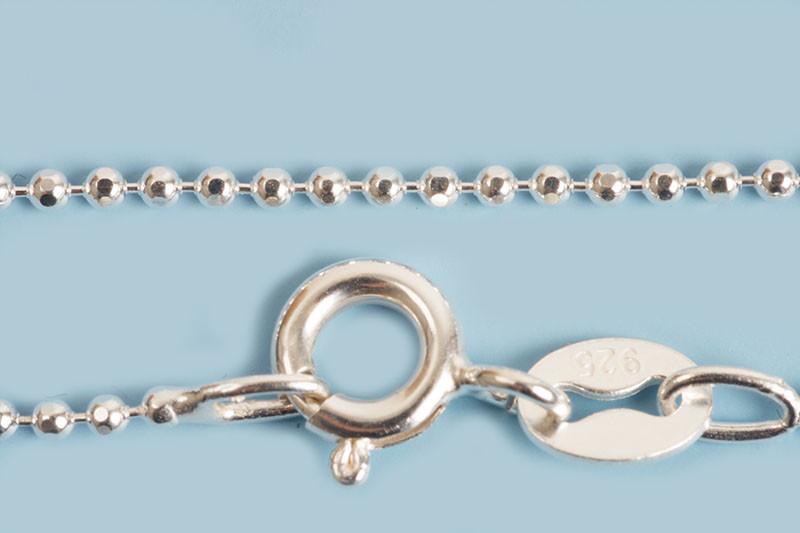 Halskæde, kuglekæde, 80 cm x 1,2 mm, 925s, 1 stk.