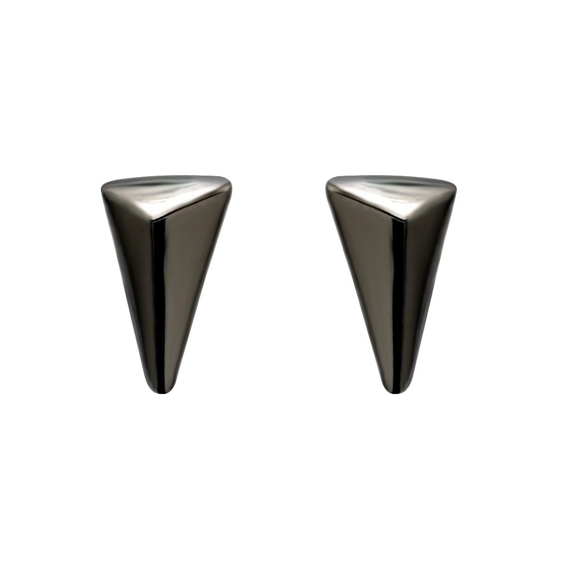 Plain Triangle Ear Studs Black