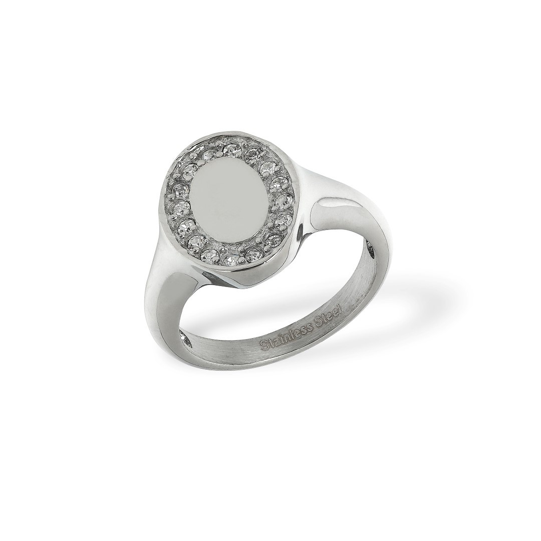 Signet Ring Zirkonia Steel