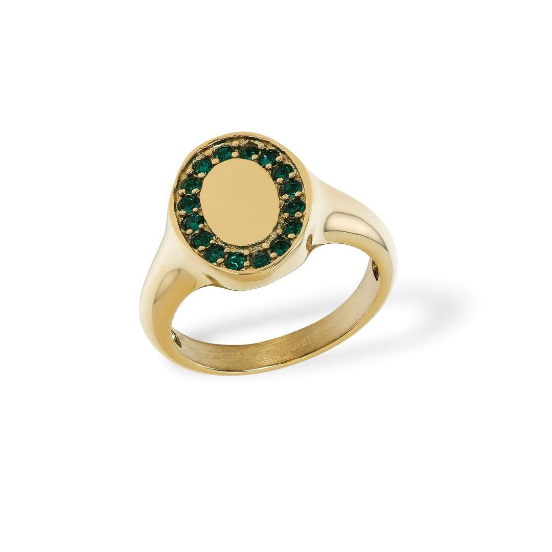 Signet Ring Zirkonia Golden