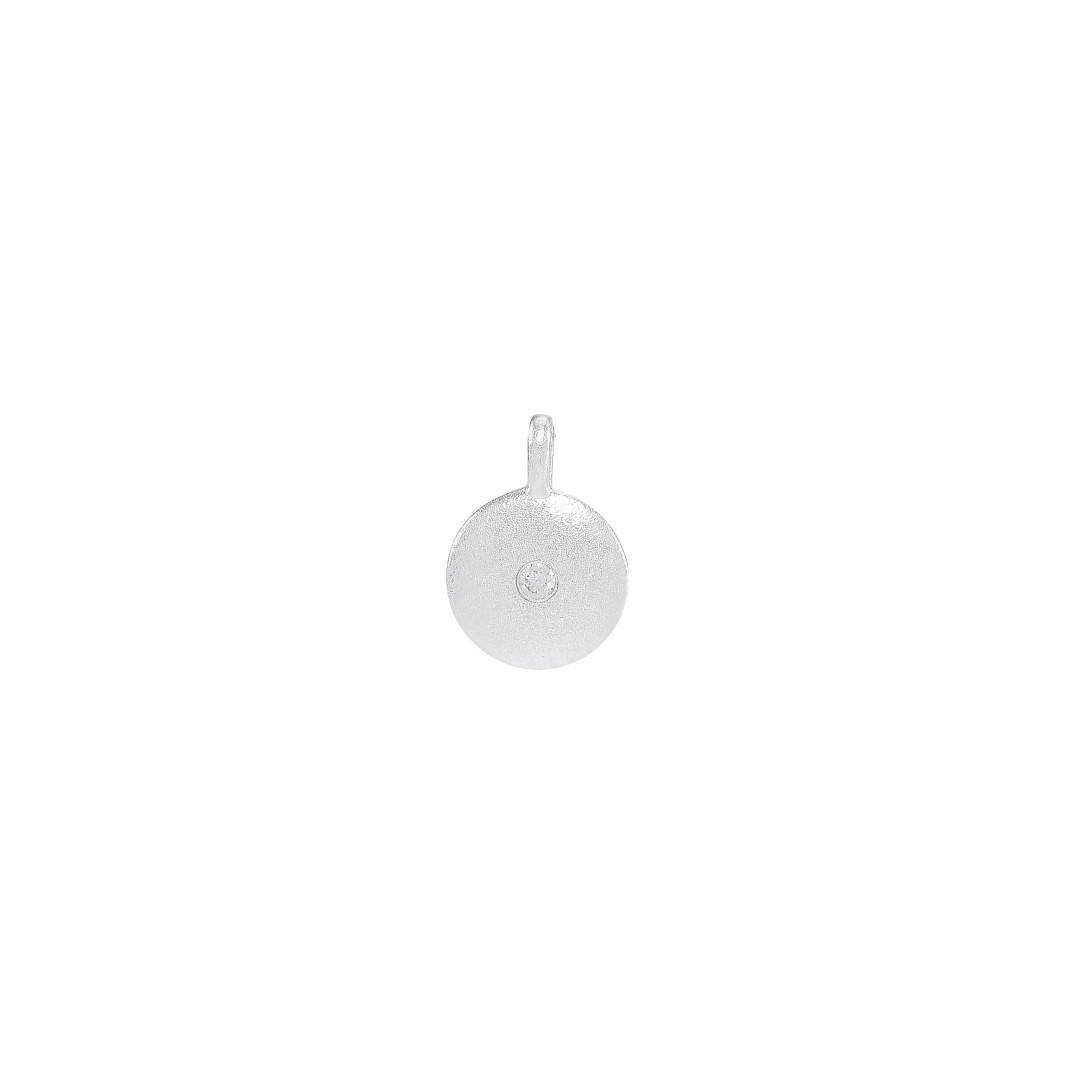 Mønt m/klar rhinsten, 10x13 mm, mat, 925s, 1 stk.