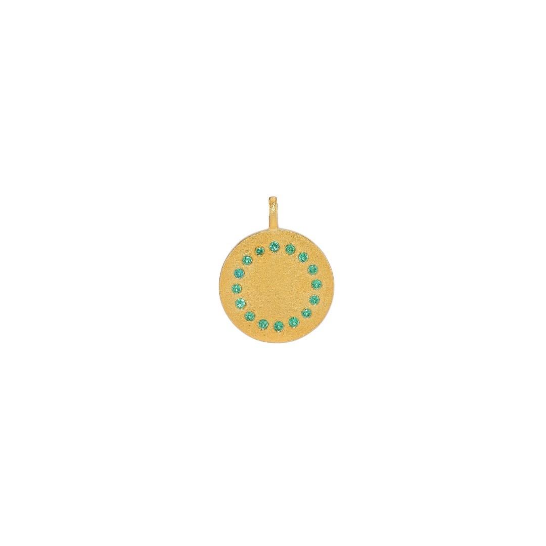 Stor mønt m/grønne rhinsten, 14x18 mm, mat, FG 925s, 1 stk.