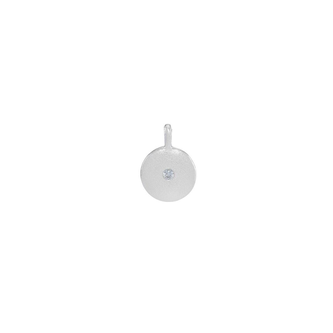 Mønt m/lyseblå rhinsten, 10x13 mm, mat, 925s, 1 stk.