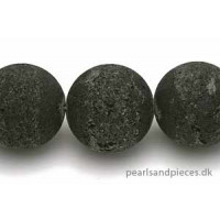 Lavasten, rund, mat, sort, ca. 20 mm, 1 streng