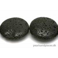 Lavasten, mønt, blank, sort, 25 mm, 1 streng