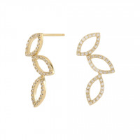Zirkonia Leaf Ear Studs gold
