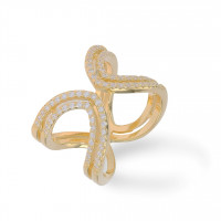 Double Ring Zirkonia Gold