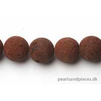 Lavasten, rund, mat, brun, ca. 18 mm, 1 streng