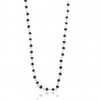 Håndlavet halskæde med sort onyx, 120 cm, sølv