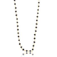 Håndlavet halskæde med sort onyx, 120 cm, forgyldt sølv