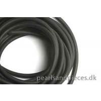 Gummisnøre, 3 mm, sort, snøren er hul, 2 meter