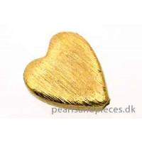 Hjerte, fladt, børstet, ca. 14x10x4,5 mm, forgyldt 925s, 1 stk.