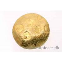 Perle, flad, hamret, ca. 12x4 mm, forgyldt 925s, 1 stk.