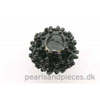 Perle, oxyderet (BP), 8 mm, kugle, m/sorte krystaller, 1 stk.