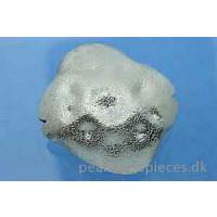 Perle, firkant, hamret, ca. 25x27x13 mm, 925s, 1 stk.