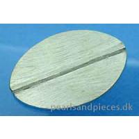 Perle, oval, flad, børstet, ca. 48x30 mm, 925s, 1 stk.