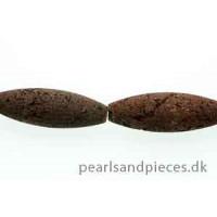 Lavasten, tønde, brun, ca. 40x12 mm, 1 streng