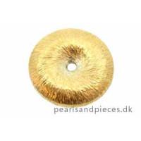 Perle, børstet, hjul, ca. 14x4 mm, forgyldt 925s, 1 stk.