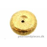 Perle, børstet, hjul, ca. 12x3,5 mm, forgyldt 925s, 1 stk.