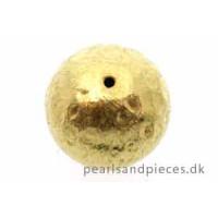 Perle, rund, banket, 14 mm, forgyldt 925s, 1 stk.