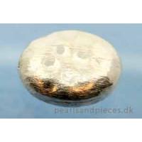 Perle, oval, hamret, ca. 17x15x7 mm, 925s, 1 stk.