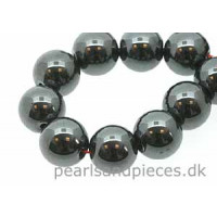 Hematite, rund, 12 mm, 1 streng
