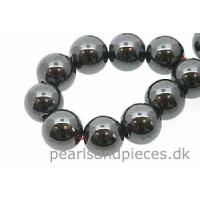 Hematite, rund, 16 mm, 1 streng
