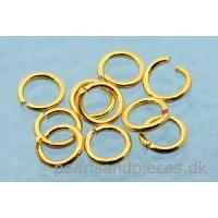 Ring, åben, ca. 5x0,7 mm, forgyldt 925s, 10 stk.