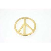 Peacetegn, børstet, ca. 20 mm, forgyldt 925s, 1 stk