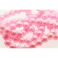 Glasperle, rund, satinmat, pink, 10 mm, 1 streng - 80 cm