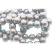 Glasperle, rund, satinmat, brun, 10 mm, 1 streng - 80 cm