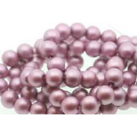 Glasperle, rund, satinmat, lavendel, 10 mm, 1 streng - 80 cm
