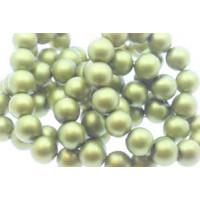 Glasperle, rund, satinmat, limegrøn, 10 mm, 1 streng - 80 cm