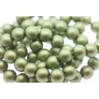 Glasperle, rund, satinmat, mosgrøn, 10 mm, 1 streng - 80 cm