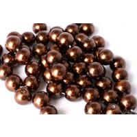 Glasperle, brun, 8 mm, 1 streng, ca. 40 cm