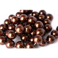 Glasperle, brun, 10 mm, 1 streng, ca. 40 cm