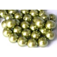 Glasperle, limegrøn, 10 mm, 1 streng, ca. 40 cm