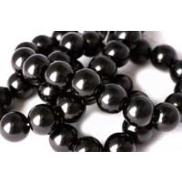 Glasperle, sort, 10 mm, 1 streng, ca. 40 cm