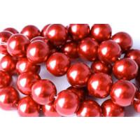 Glasperle, kirsebærrød, 10 mm, 1 streng, ca. 40 cm