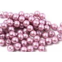 Glasperle, lavendel, 6 mm, 1 streng, ca. 40 cm