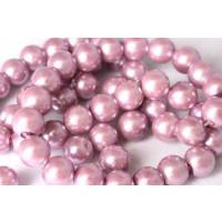 Glasperle, lavendel, 8 mm, 1 streng, ca. 40 cm