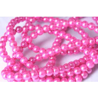 Glasperle, pink, 4 mm, 1 streng, ca. 80 mm