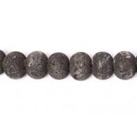 Lavasten, rondel, mat, sort, 16 mm, 1 streng