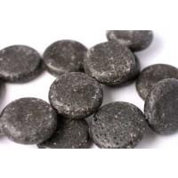 Lavasten, mønt, sort halvblank, ca. 10x30 mm, 1 streng