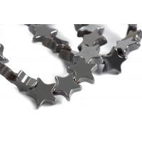 Hematite, stjerne, 6x6x1,5 mm, 1 streng
