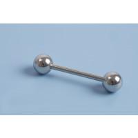 Pind m/perle, platinfarvet, 30,5x6x2 mm, 1 stk.