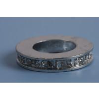 Rondel m/rhinsten, ca. 20x4 mm, FS, 2 stk.